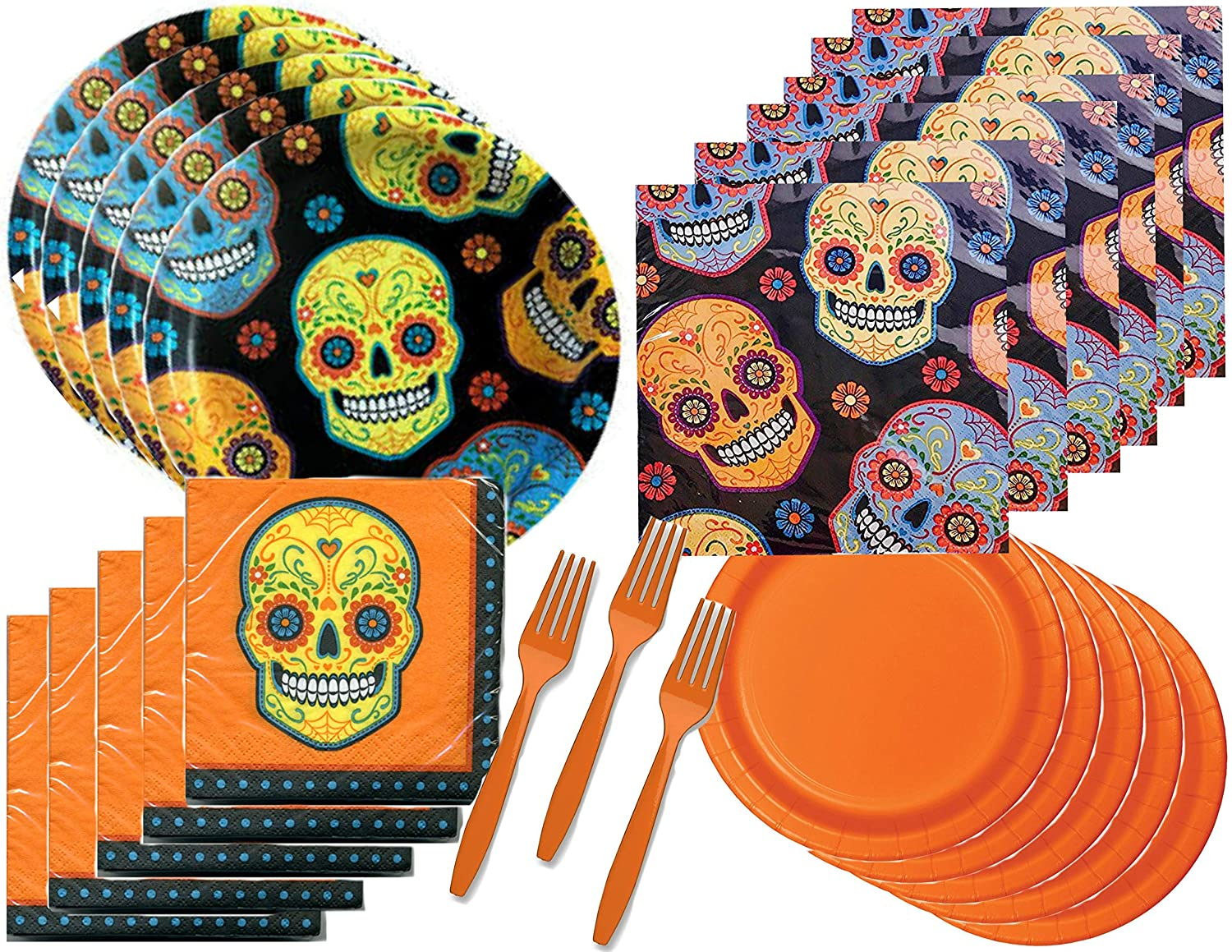 Sugar Skull Day of The Dead Halloween Party Supply Bundle for 48 Guests - Includes Plates, Napkins and Forks, 240 Pieces Total