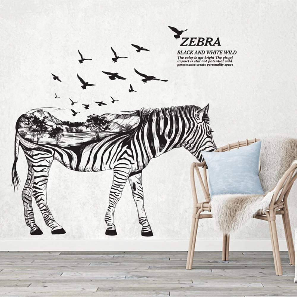 xmksd Black and White Wild Zebra Wall Sticker 3D Creative Forest Animal Zebra Wall Decals for Living Room Bedroom Kids Room Decor Art 60X90Cm