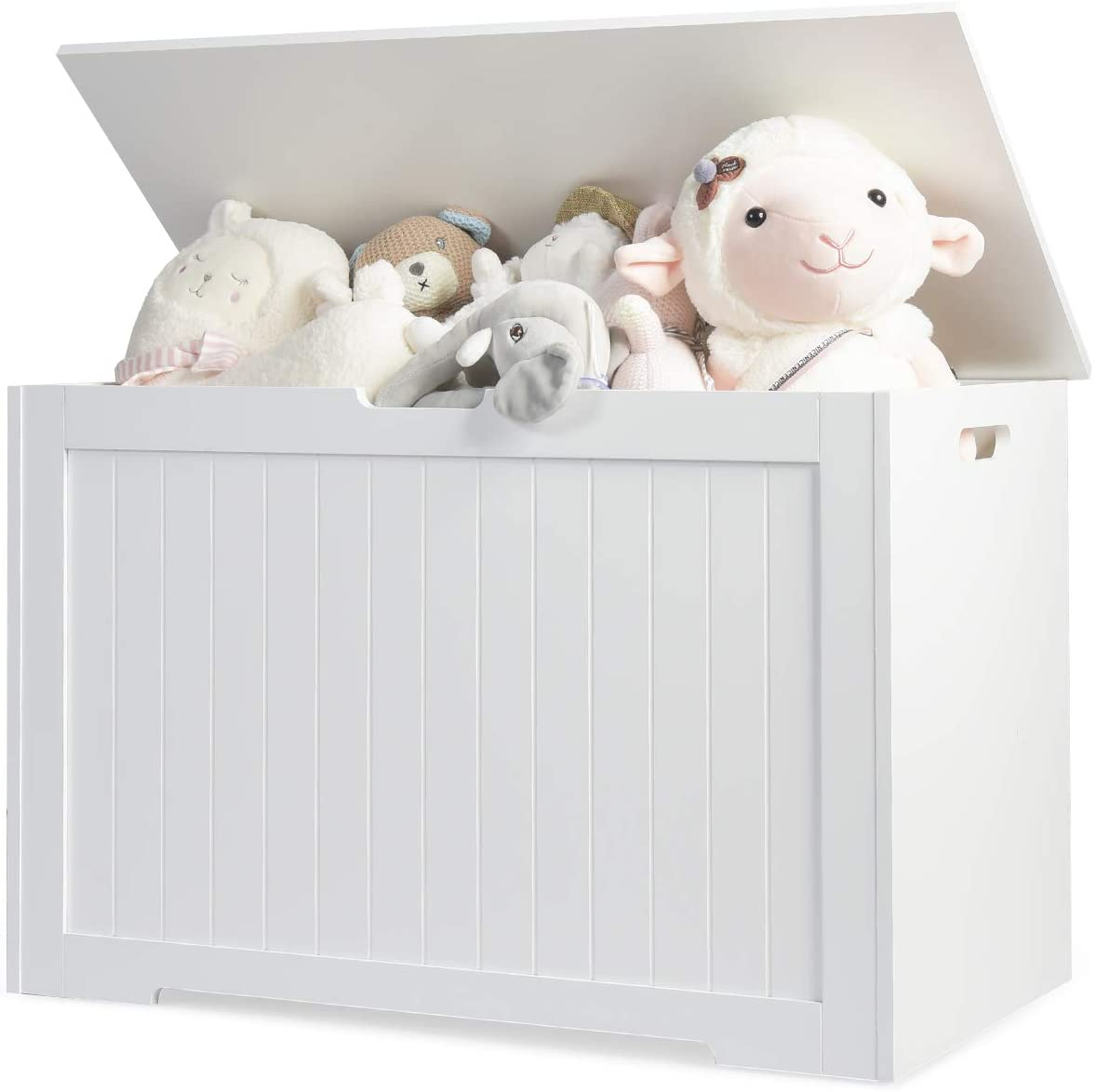 Costzon Wooden Toy Box Chest, Toy Organizer with Flip-Top Lid, Heavy-Duty Toy Cabinets for Kids, Finger-Pinch Prevention Toy Storage Case for Bedroom/Living Room/Kindergarten (White)
