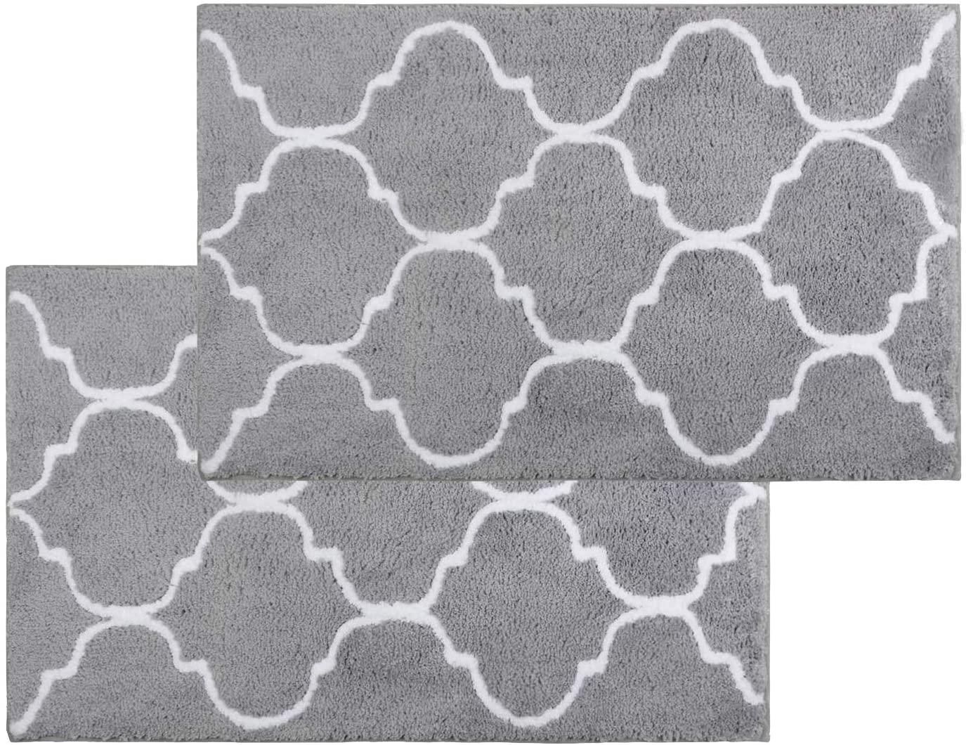 Homcomoda Bath Rugs Set 2 Piece Bath Mat Non Slip Backing Absorbent Bathroom Rug Microfiber Machine Washable Floor Rugs( Gray )