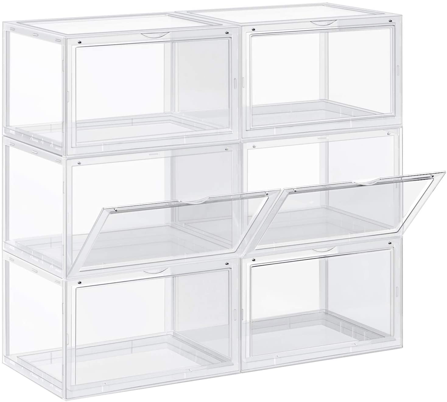 SONGMICS Shoe Boxes, Pack of 6 Stackable Shoe Organizer with Clear Door, Plastic Shoe Storage, Transparent ULSP06CW