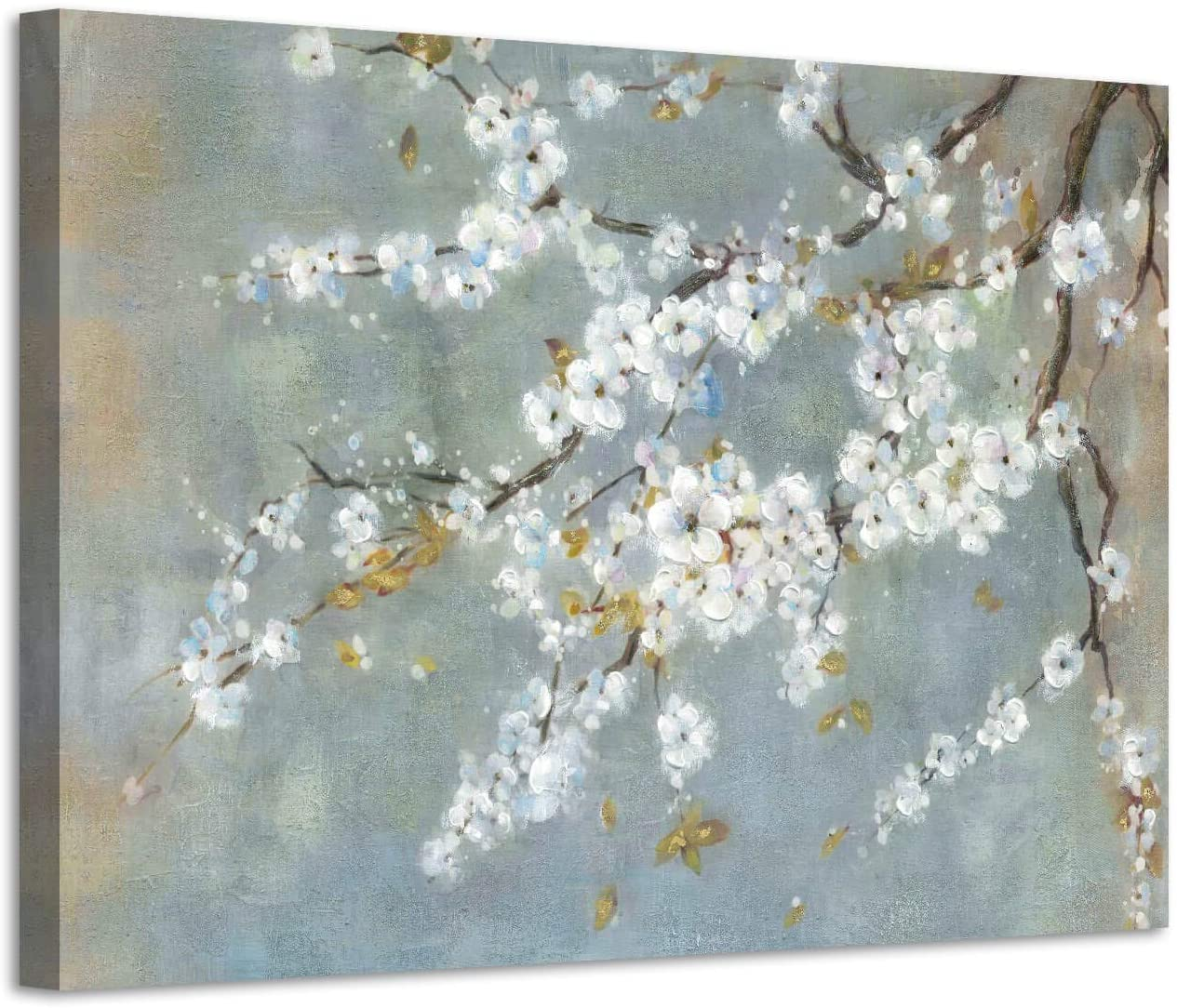 Vintage Floral Canvas Wall Art: White Plum Blossom Flowers Painting Print with Gold Foil on Canvas for Living Room (36'' x 24'' x 1 Panel)