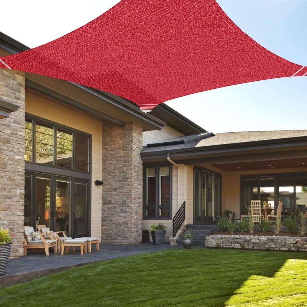 Ankuka 10' x 10' Sun Shade Sail Canopy Rectangle UV Block for Outdoor Patio and Garden, Yard Activities, Red