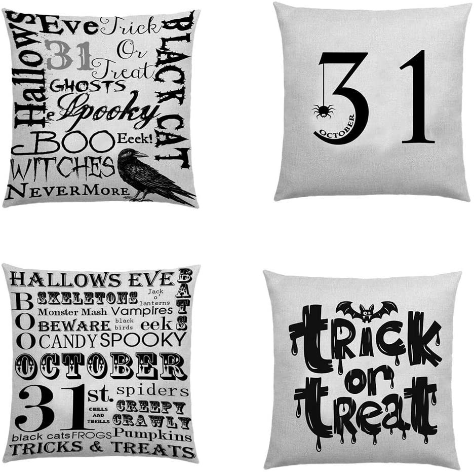 Halloween Pillows Covers, 4 Pieces Halloween Pillow Shee ts Halloween Linen Cushion Case for Sofa Couch Home Decor 18 x 18 Inch