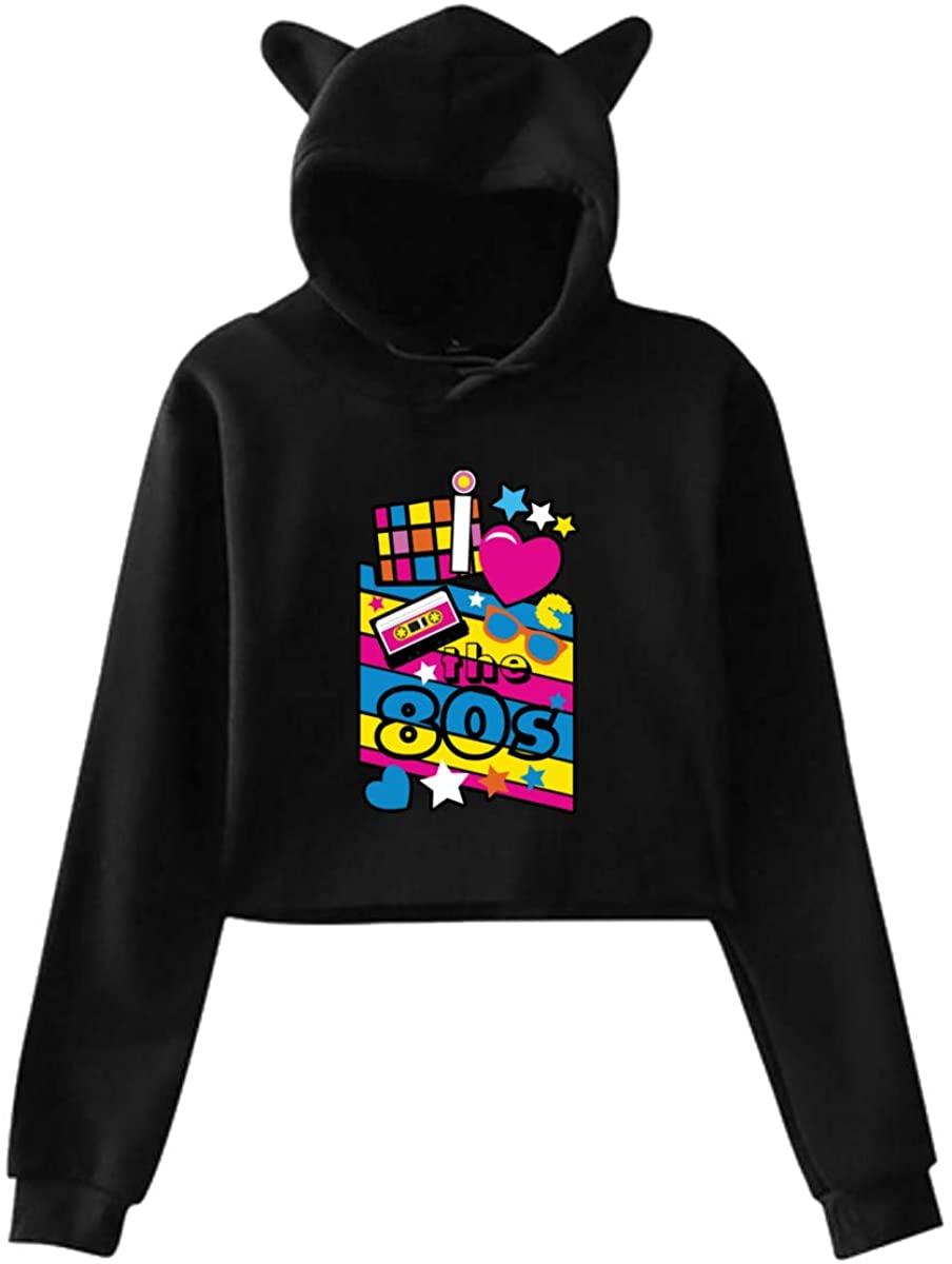 Seuriamin Women's Cat Ear Hoodie Logo of I Love The 80s Lumbar Hooded Sweatshirt