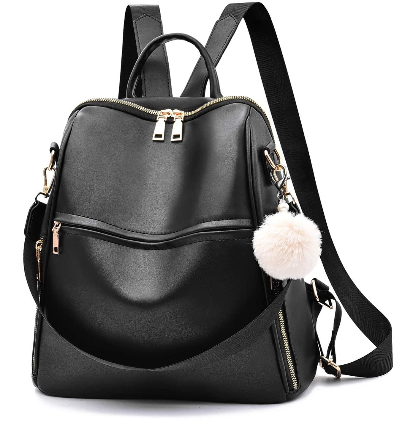 Women Backpack Purse Multifunctional Fashion Shoulder Bag Cute Backpack for Girls,Black