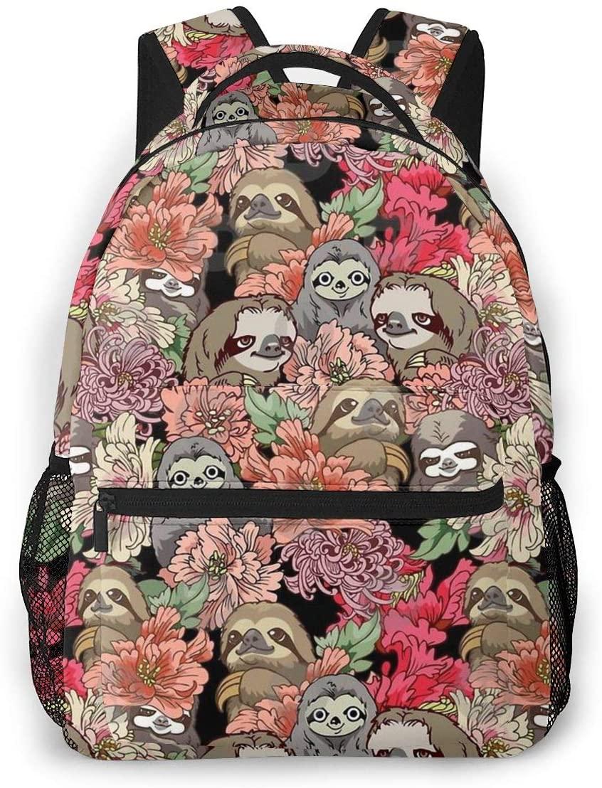 Fashion Backpack for Girls Boys Sloths Floral Print Cute School Bag Bookbag Daypack