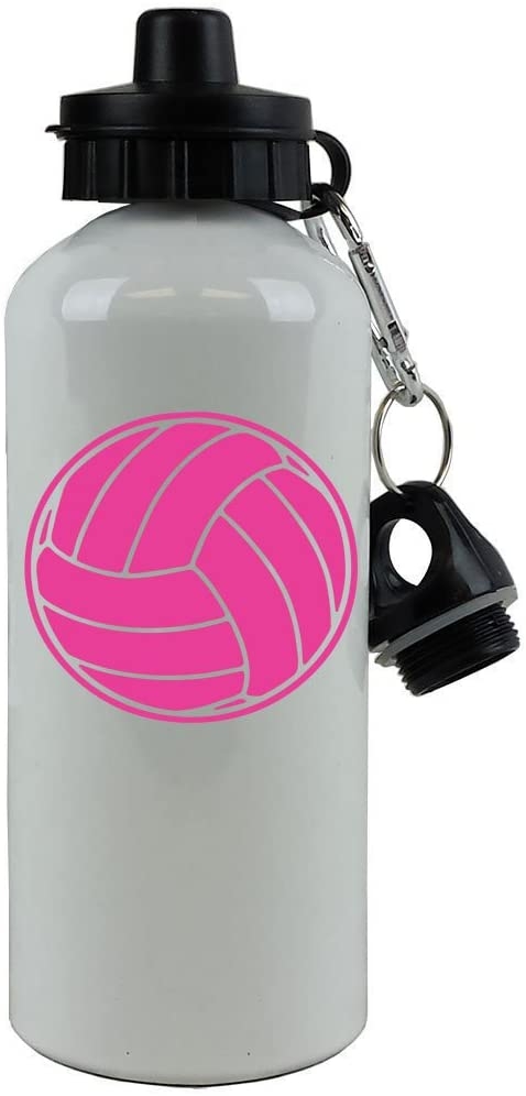 Personalized Custom Volleyball Aluminum White 20 Ounce 600ML Sport Water Bottle, 2 Lids, Customizable