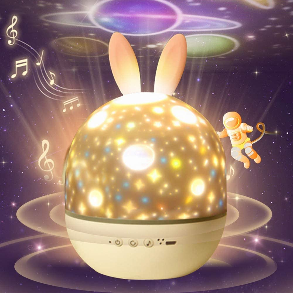 Night Light for Kids,erwubala Multifunctioal Night Light Star Projector,360°Rotating Music Box,Sleep Trainer with Timer,Rechargeable Soft Mood Lamp,Remote Control,Best Gift for Boys and Girls