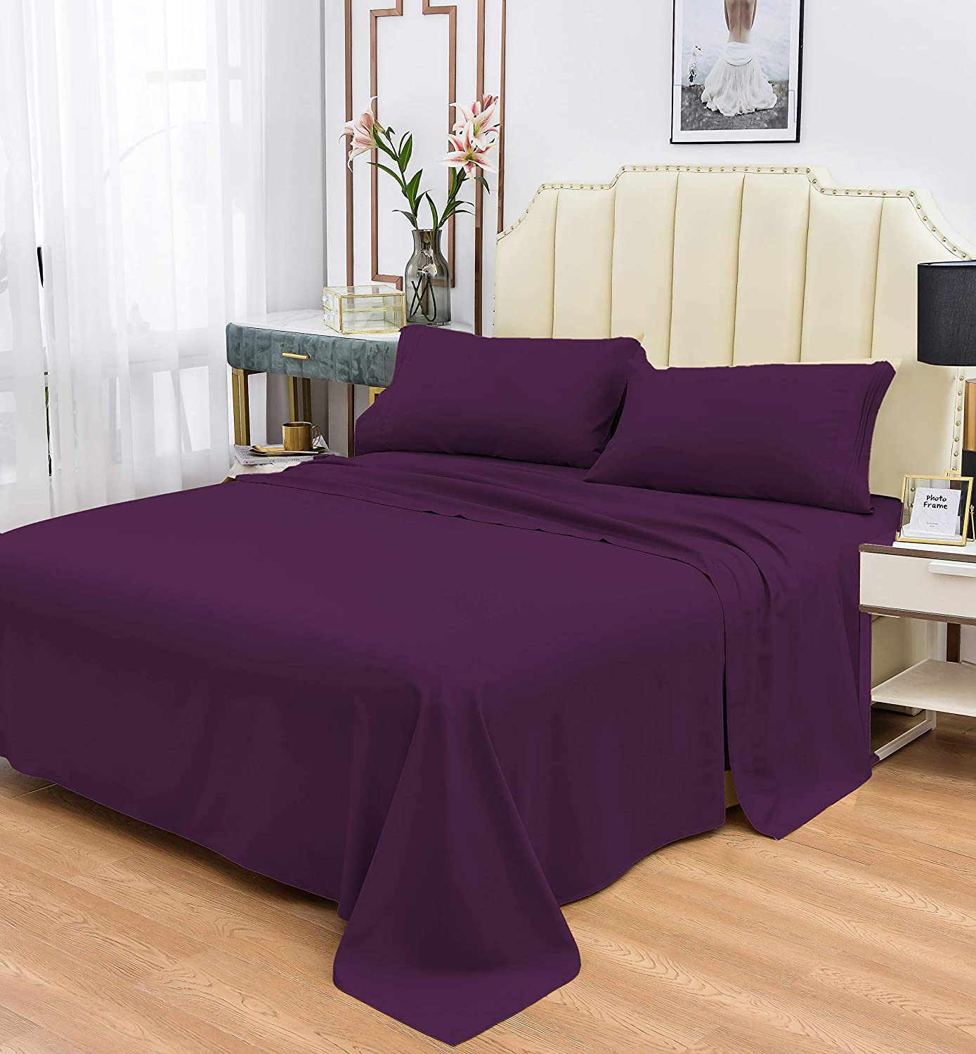 """Cool Products Ultra Soft Luxury 1800 Series Bamboo Sheets Set - Hypoallergenic - Fade, Wrinkle Resistant - Deep Pocket 16"""" - Bamboo Sheets - 4 Pieces, Purple, Queen"""