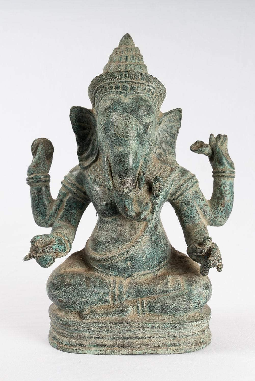 HD Asian Art Ganesh Statue - Antique Khmer Style Southeast Asia Seated Ganesha Statue - 35cm/14