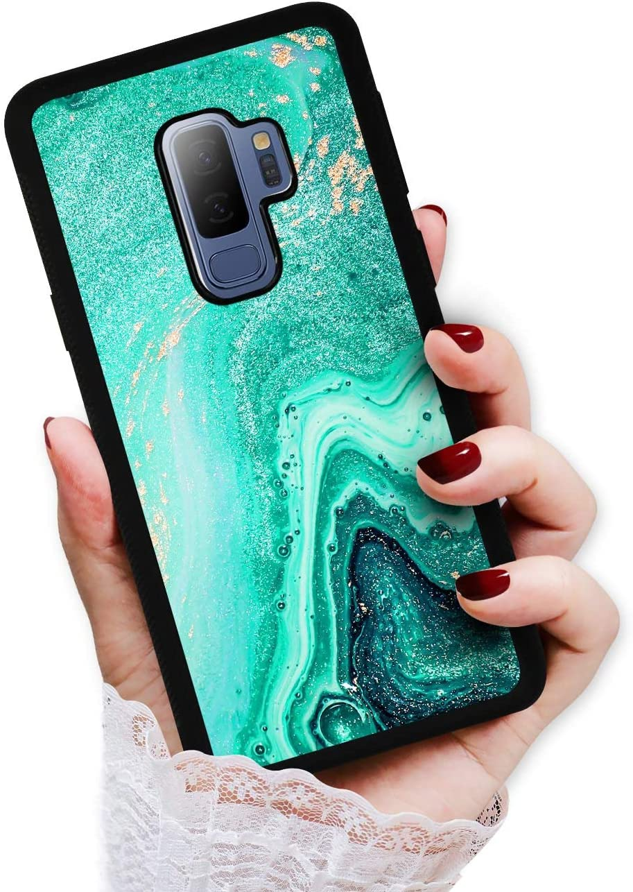 for Samsung S9+, Galaxy S9 Plus, Art Design Soft Back Case Phone Cover, HOT12505 Crystal Marble Green Emerald 12505