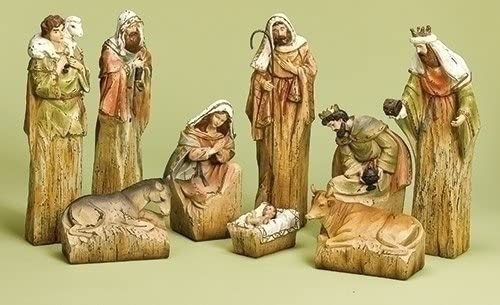 Roman 9-Piece Inspirational Religious Driftwood Nativity Scene Christmas Decoration