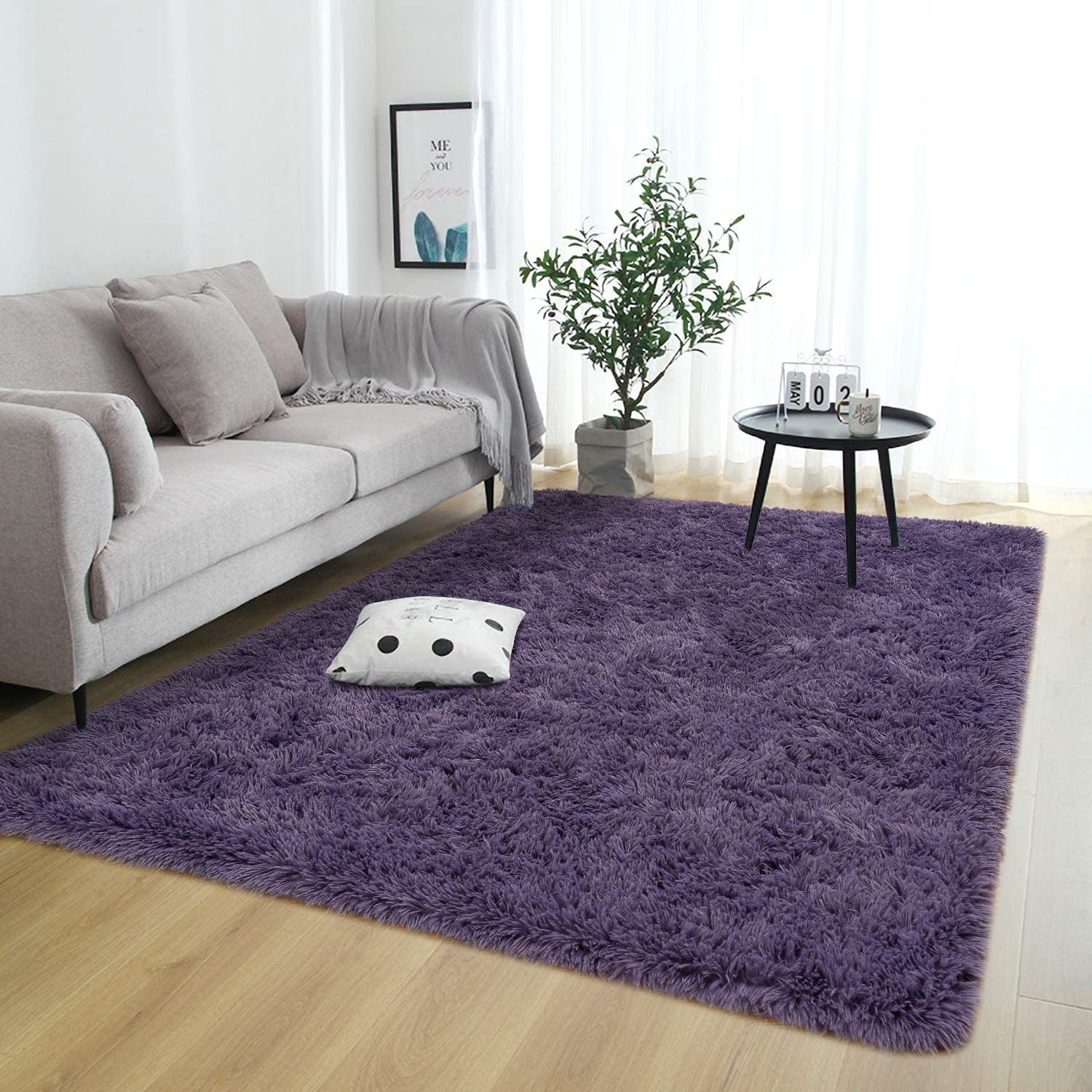 Rostyle Super Soft Fluffy Area Rugs for Bedroom Living Room Shaggy Floor Carpets Shag Christmas Rug for Girls Boys Furry Home Decorative Rugs, 4 ft x 6 ft, Grey-Purple