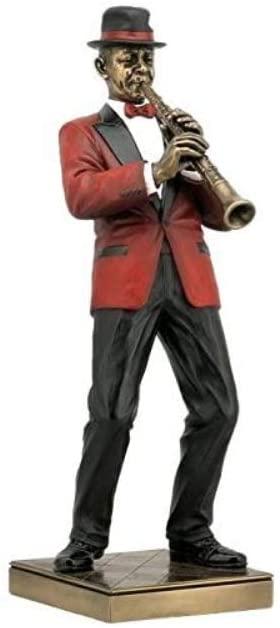 US 12.25 Inch Clarinet Player Cold Cast Decorative Figurine, Bronze Color