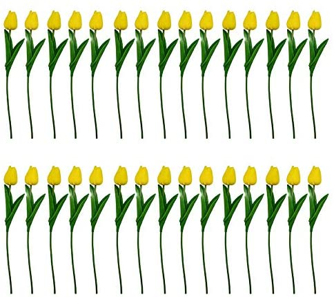 CVNT 30 Pack Tulips Artificial Flowers Fake Real Touch Latex Tulips for Wedding Party Home Room Office Decoration (Yellow)