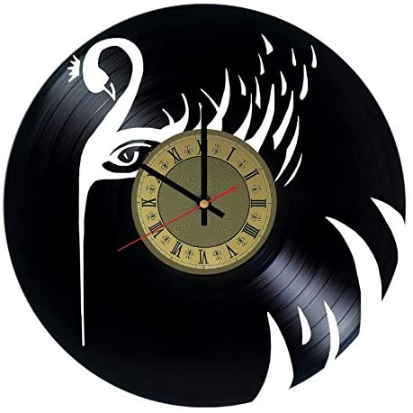 STP Cat Black Swan Vinyl Wall Clock - Handmade Unique Artwork Home Bedroom Living Kids Room Nursery Wall Decor Great Gifts idea for Birthday, Wedding, Anniversary - Customize Your (Gold/Black)