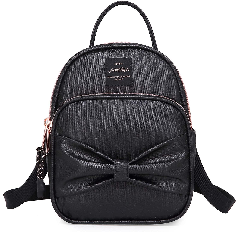 VANNA Bowknot Extra Mini Backpack Purse for Girls & Women, 3-Way Convertible as Handbag, Shoulder Bag and Backpacking Wallet