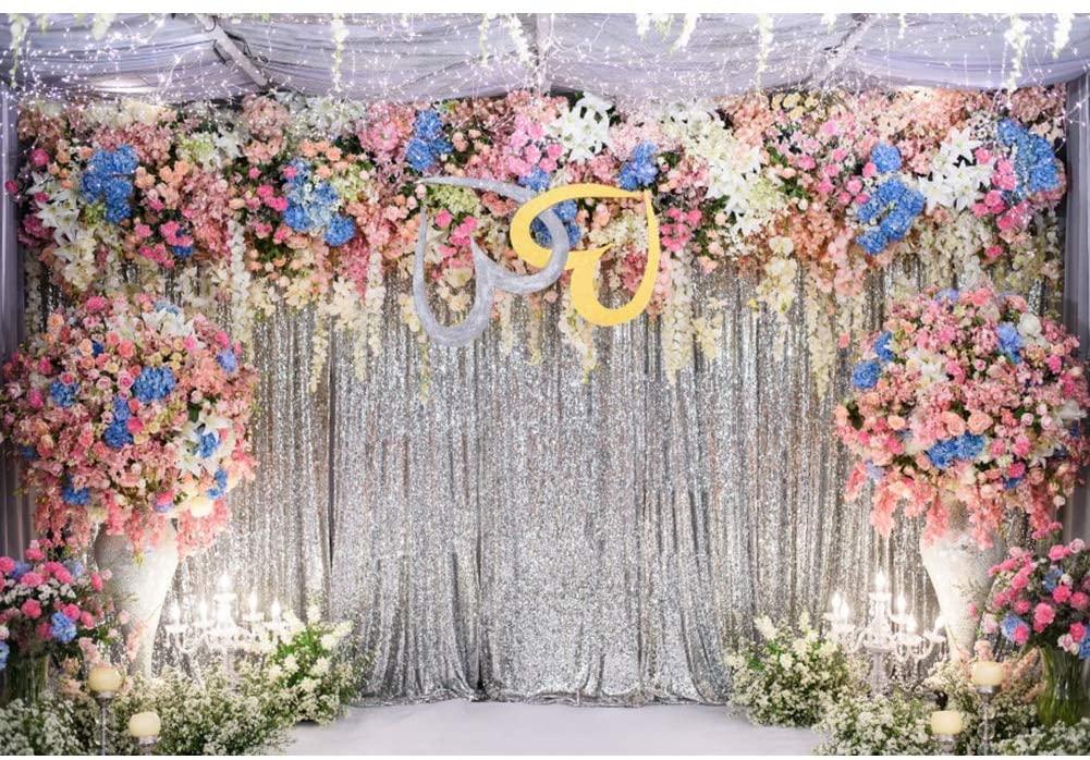 Renaiss 10x8ft Wedding Backdrop Glitter Silver Curtain Colorful Flowers Candle Vase Romantic Interior Photography Background for Bride Shower Lover Engagement Party Decor Studio Protrait Photo Props