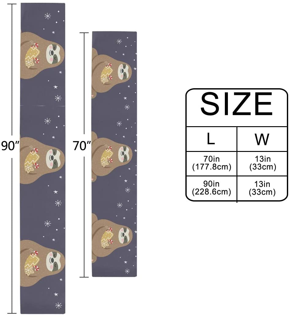 Table Runner Christmas Sloth with Light Non-Slip Heat Resistant Modern Table Runners for Dinner Party Wedding Decoration 13 x 90 Inch