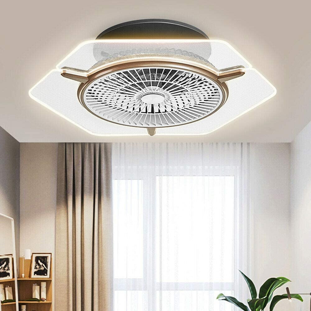 LOYALHEARTDY Ceiling Fan LED Transparent Light 3 Color Change Lamp Dimmable Remote Control