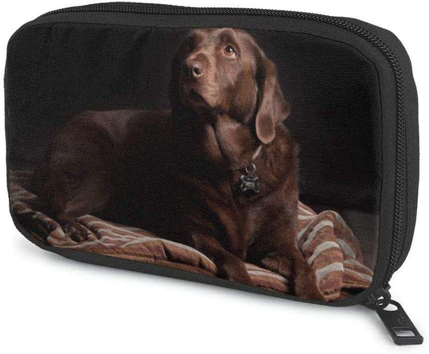 Cable Organizer Bag Brown Labrador Retriever Travel Electronics Accessories Carry Case Portable Cord Organizer Bag for Hard Drives,Cables,USB Flash Drive,Plug and More