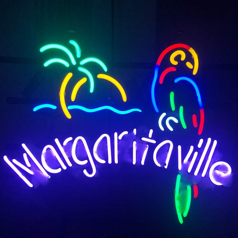 FINEON Margaritaville The Parrot Handcrafted Glass Tube neon Sign 17(w) insx14(h) ins for Bedroom Decoration Bar Pub Neon Light Gift