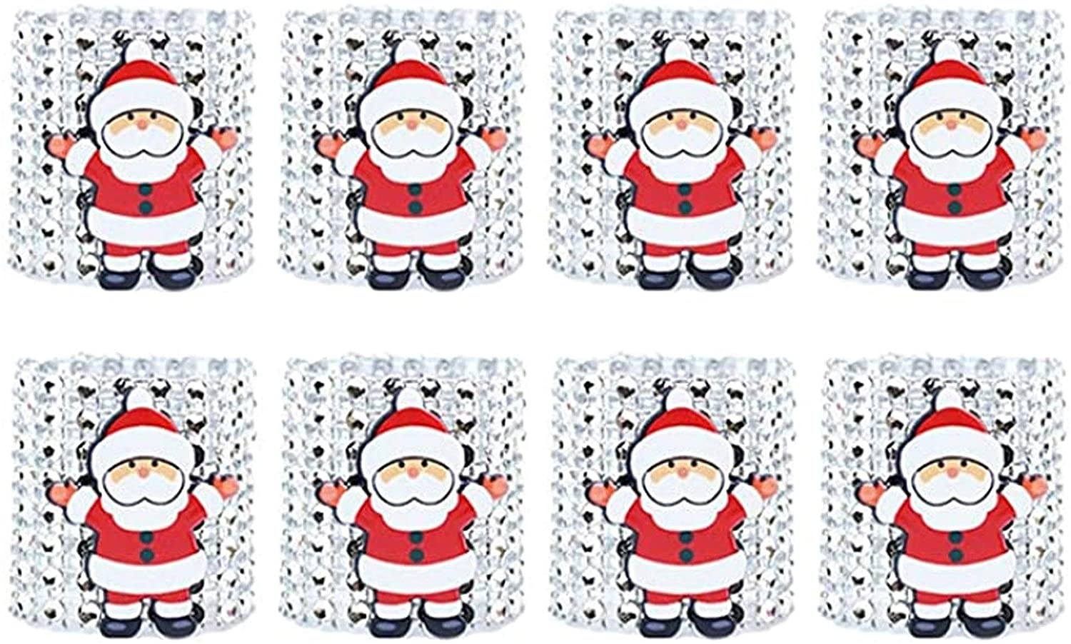 Santa Claus Napkin Rings Set of 8 for Christmas Dinning Table Setting-Wedding Receptions,Christmas,Thanksgiving and Home Kitchen for Casual or Formal