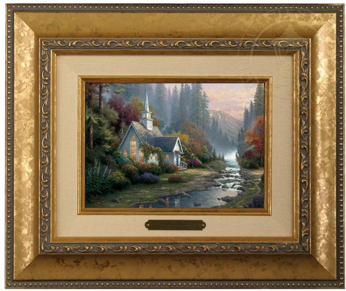 Thomas Kinkade Brushwork Forest Chapel - Gold Frame
