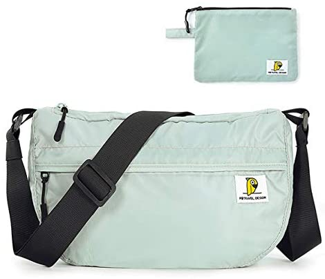 Gophralove Crossbody Sport Bag Waterproof Foldable Lightweight Nylon Shoulder Purse for Travel Casual Daypack with Extra Purse for Adults Teenagers(Mint Green)