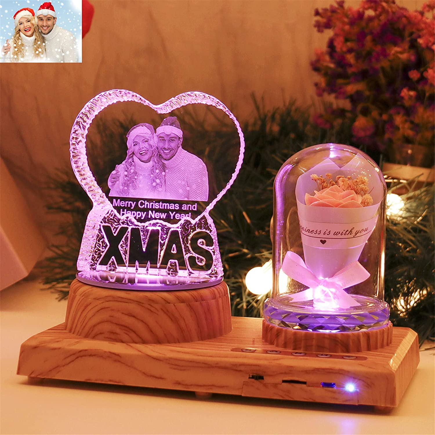 Personalized Xmas Night Light 3D Crystal Lamp Custom Photo Picture Engraved Led Light 7 Color with Bluetooth Rose Wood Base Personalized Gift for Women PAPA Christmas Decoration