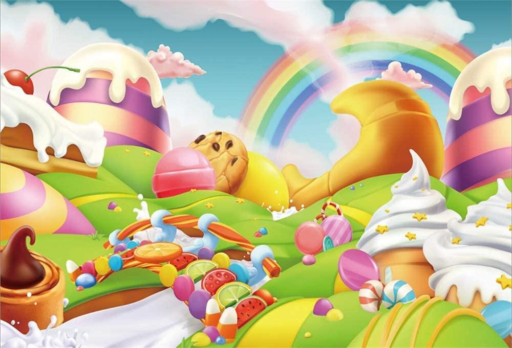 Yeele 6x4ft Fantasy Candy Land Backdrop for Photography Cartoon Rainbow Ice Cream Dessert Bckground Kids Birthday Party Decoration Girls Boy Baby Shower Banner Photo Booth Shoot Vinyl Studio Props