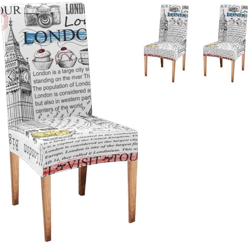CUXWEOT Chair Covers for Dining Room London Landmark Stamp Seat Covers Slipcovers for Party Decor (Set of 2)
