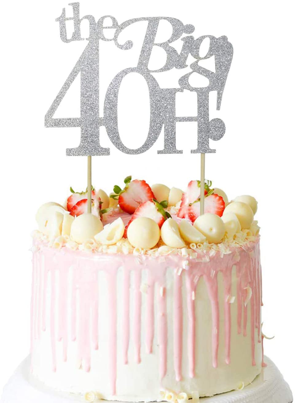 Guoguoxia Silver Glitter The Big 40H Cake Topper 40 & Fabulous Cake Topper - 40th Birthday Party Decoration Sign - Adult Birthday Party Supplies
