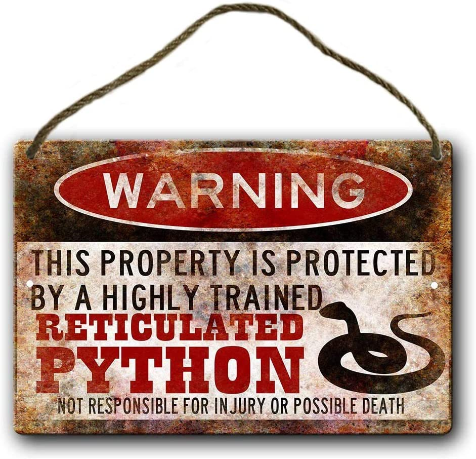 Cooltin Personalized Wood Hanging Sign Reticulated Python Sign,Ball Python Accessories,Snake Warning Sign Wood Sign 8 X 12 Inches