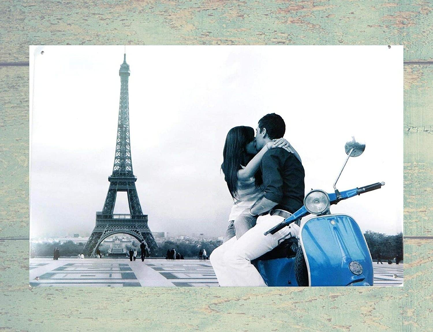 QDTrade Metal Sign 16 x 12inch - Eiffel Tower Lover Kissing tin Sign Metal Wall Poster Home Decor