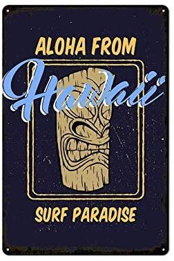 Aloha from Hawaii Surf Paradise Tiki Bar Vintage Retro Metal Tin Sign Home Bar Kitchen Farmhouse Home Decor Signs Gifts 8X12Inch