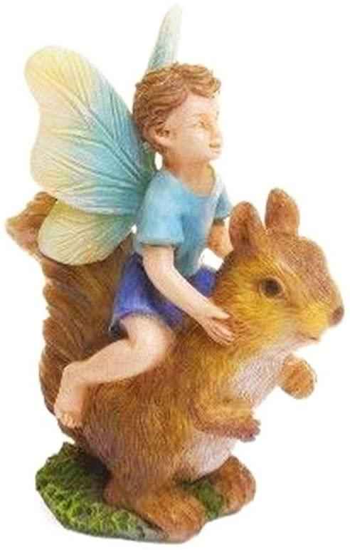 Mini Dollhouse Fairy Garden Accessories - Fairy Boy Riding Squirrel - My Garden Miniatures