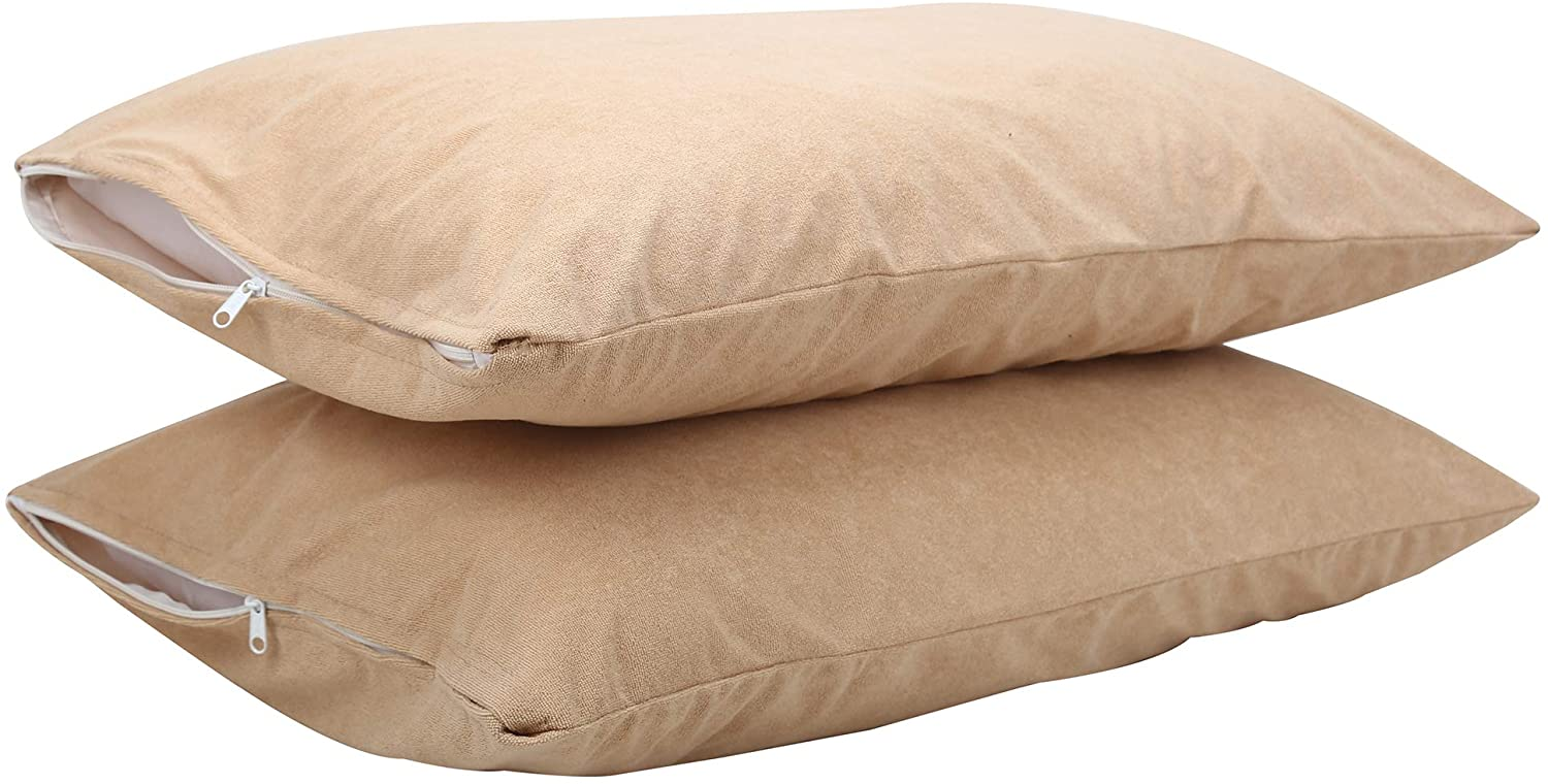DHAROHAR HANDICRAFT Standard Pillow Protectors with Bed Bug, Allergen, and Dust Mite Protection, Soft, Breathable, and Cool Covers, All Night Sleep Comfort, Micro Zippered Edge (Beige, King)