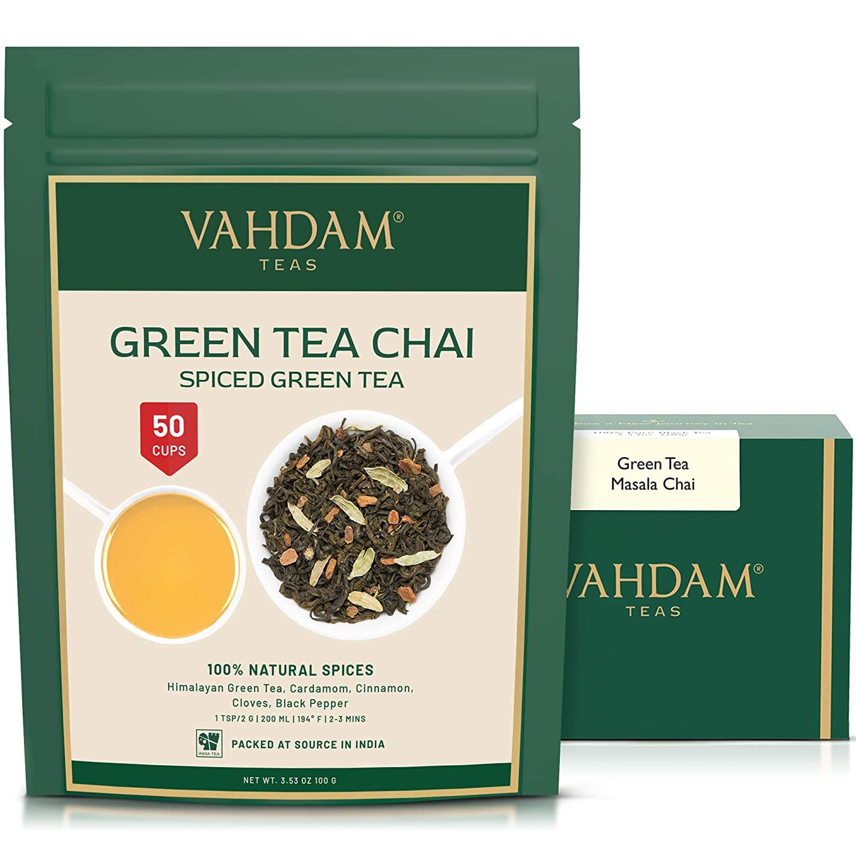 Green Tea Masala Chai Tea Loose Leaf - (50 Cups), 3.53oz - Perfect Blend of Natural Green Tea Leaves, Cinnamon, Cardamom, Cloves & Black Pepper - Traditional Green Spiced Chai Tea Recipe
