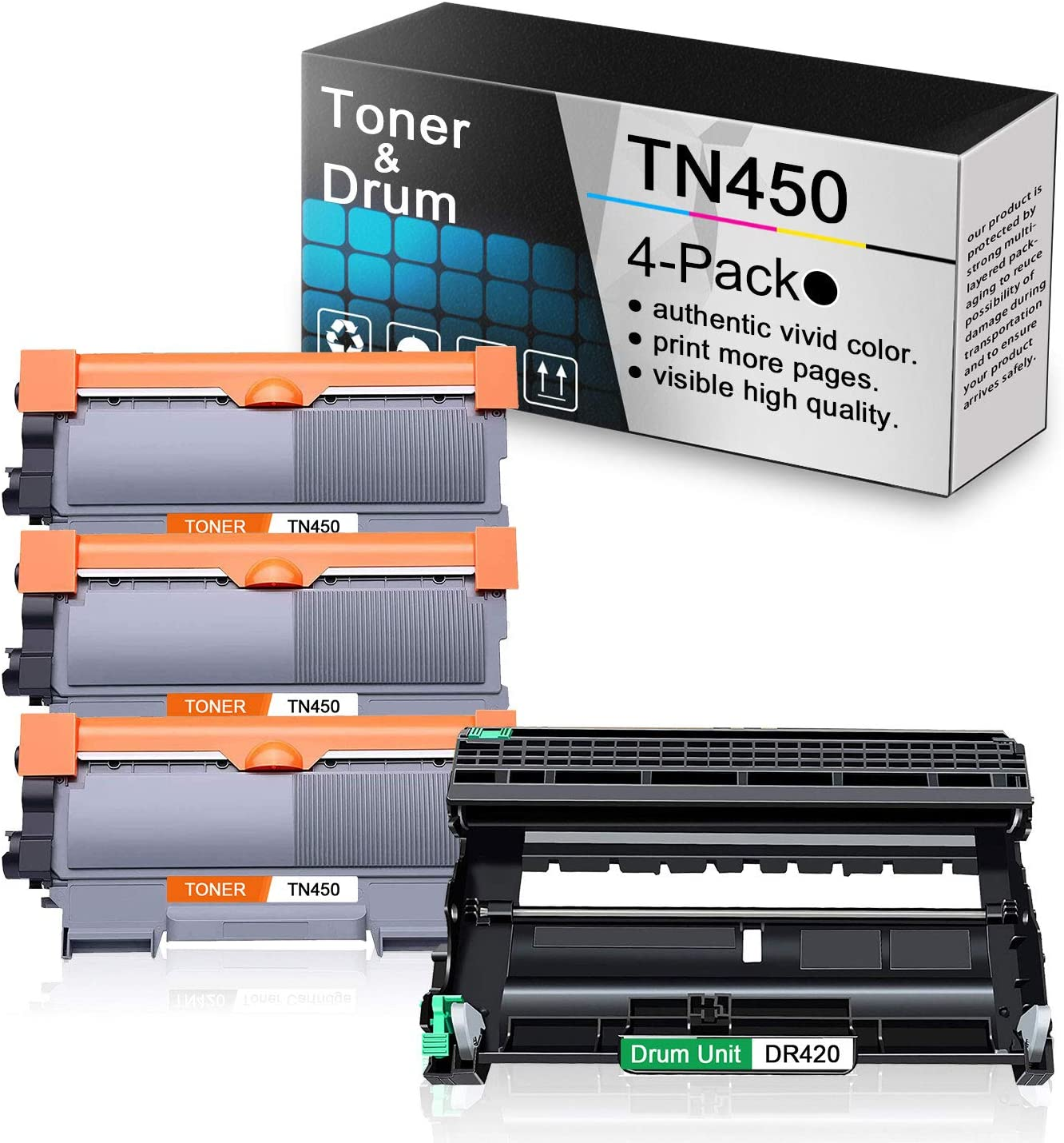 Replacement for TN450 Black Toner Cartridge 3 Pack and DR420 Drum Unit 1 Pack Compatible for Brother DCP-7060D 7065D Intellifax 2840 MFC-7240 7860DW HL-2130 2132 2240 2240D 2250DN 2280DW Printers.