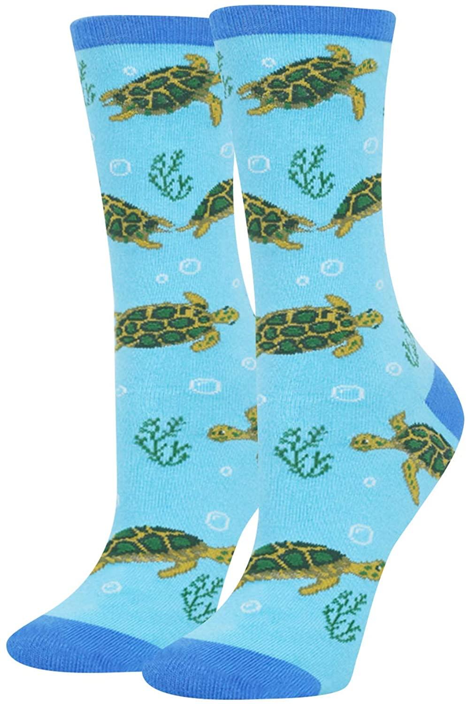 HAPPYPOP Women Girls' Sea Animal Socks, Gift for Shark Whale Otter Lover
