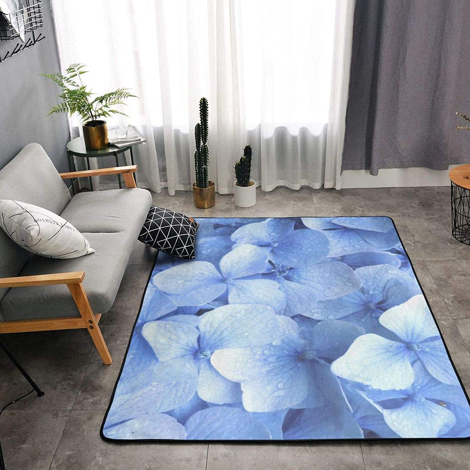 Area Rugs Pads Carpets Washable Soft Indoor Modern Area Rug for Bedrooms, Living Rooms, Dining Rooms, Kids Playing Mat Home Decor Rug, Blue Hydrangea