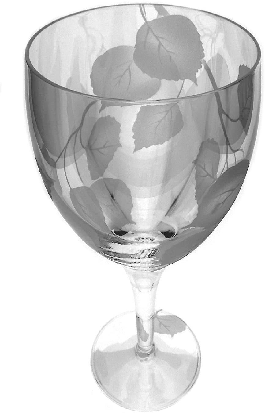 IncisoArt Hand Etched Italian Crystal Goblet Sandblasted (Sand Carved) Handmade Wine Water Glass Engraved (Aspen Branch, 340 Milliliter (11.5 Ounce) White Wine)