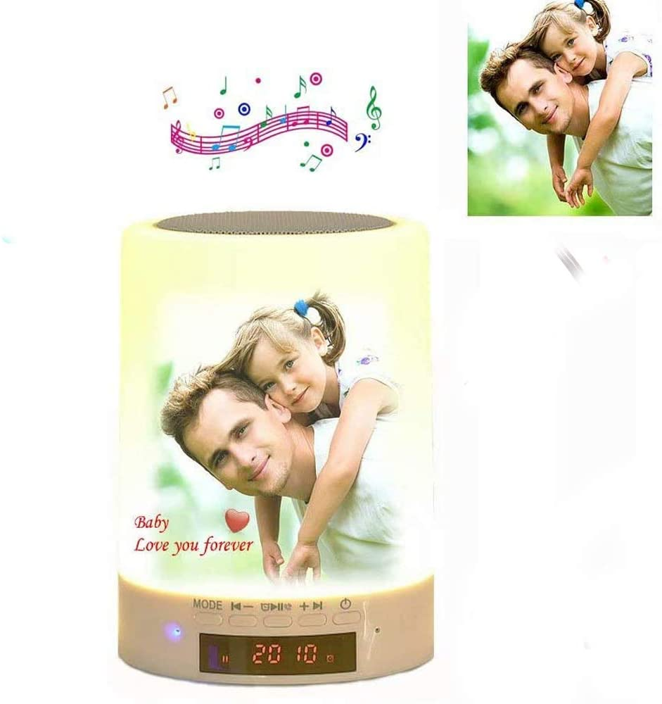 Personalized Photo Night Light Bluetooth Speaker with Lights Alarm Clock, 7 Colors Table Lamp Music Player for Bedroom Personalized Gift