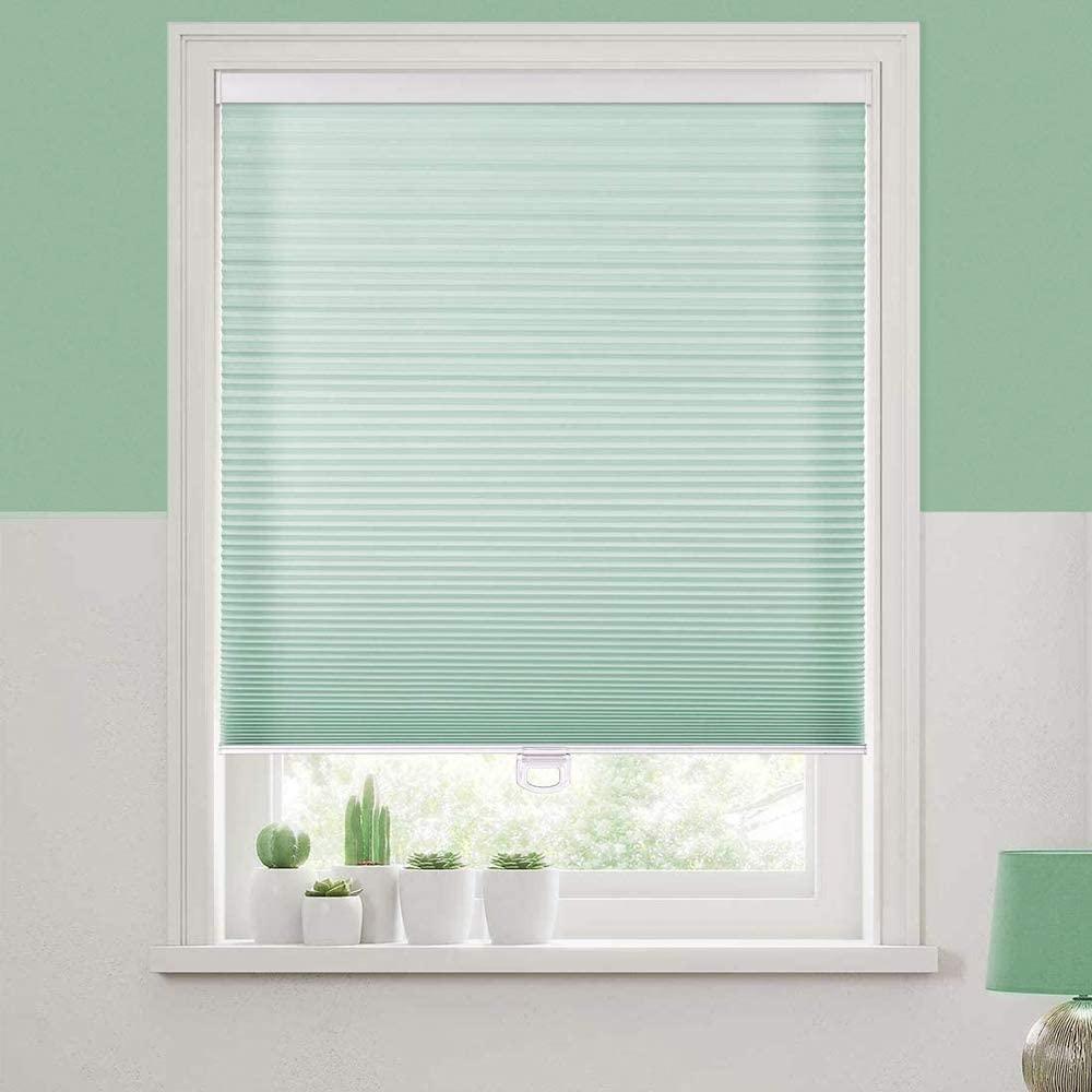Bidook Cellular Shades Window Blinds Honeycomb Light Filtering Non-Woven Cordless Safe Green 19