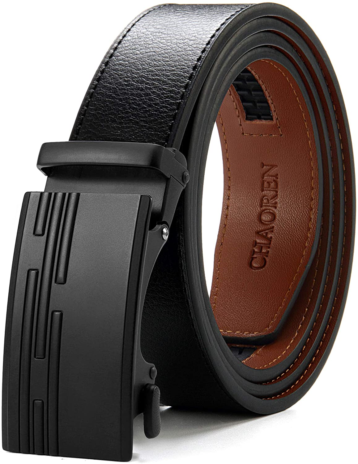 CHAOREN Casual Ratchet Belt with Automatic Slide Buckle,Genuine Leather belt Trim to Fit