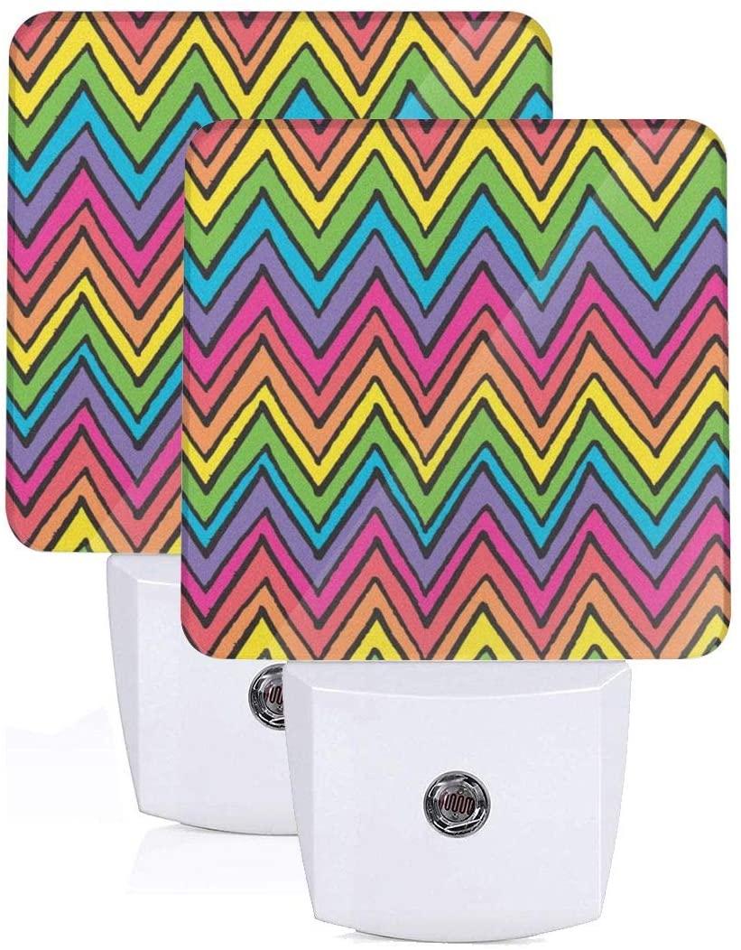 Feihuang Printing Rainbow Colors Waves Patterns On Plug-in Led Night Light Warm White Nightlight for Bedroom Bathroom Hallway Stairways(0.5w 2-Pack)