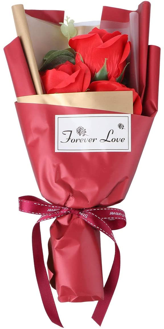 ABOOFAN 1 Set Artificial Soap Rose Bouquet Gift Box Simulation Rose Valentines Gift Party Favors