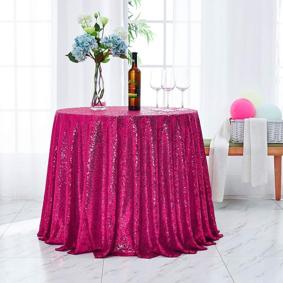 Hahuho Fuchsia Sequin Tablecloth 90 inch Round, Glitter Tablecloth for Bridal Shower Decorations, Birthday, Wedding, Dessert, Banquet(90 inch Round, Fuchsia)